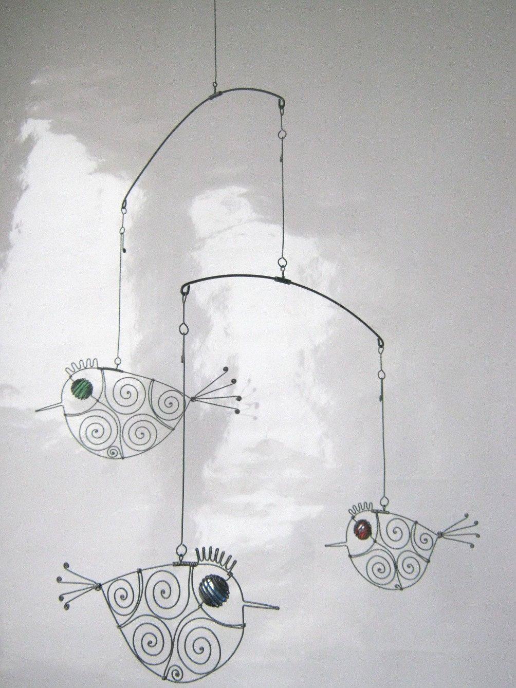 Three Metal Birds Mobile Wire Art Sculpture