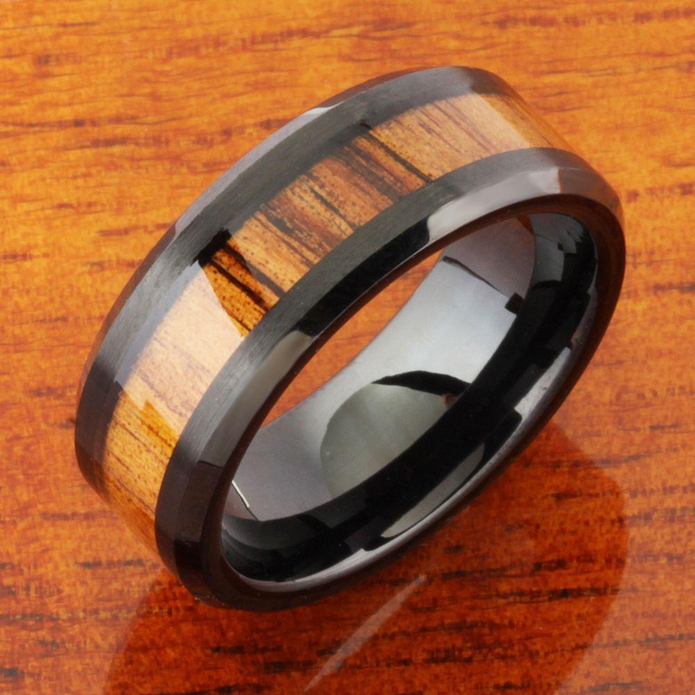 Mm natural hawaiian koa wood inlaid tungsten beveled edge wedding
