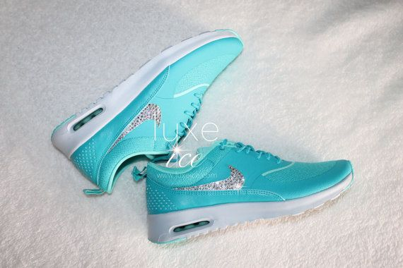 low priced a2c46 80edd NIKE Air Max Thea with Swarovski Elements. CRYSTAL COLOR  Crystal Clear  SHOE COLOR  Dusty Cactus Pure Platinum Hyper Turquoise FIT  1 2 size
