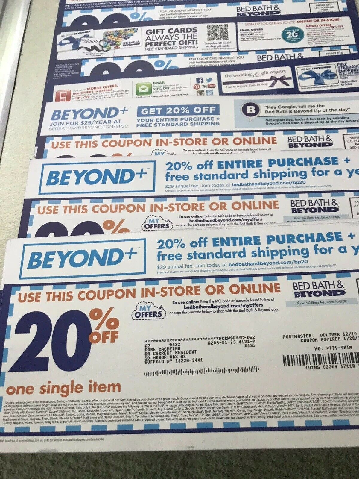 Bed Bath And Beyond 20 Off One Single Item Coupons Lot Of 25