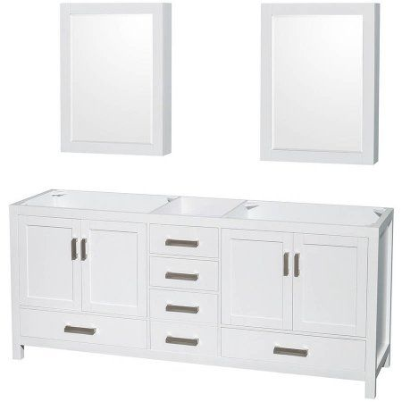 Photo Album Gallery Wyndham Collection Sheffield inch Double Bathroom Vanity in White No Countertop No Sinks