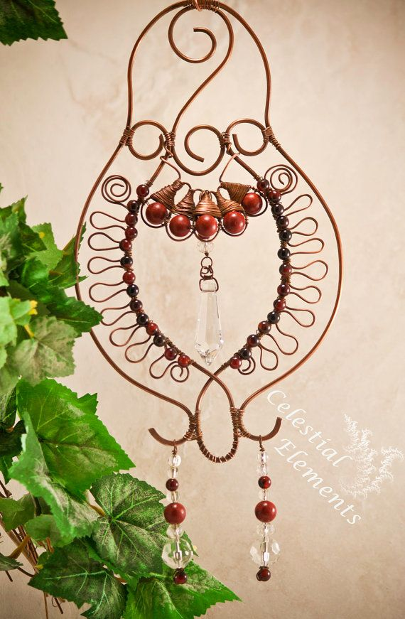 Handmade Sun Catcher shaped copper wire  a wave pattern and