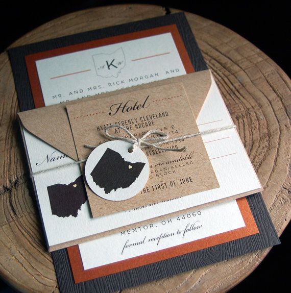 This rustic layered wedding invitation is perfect for the Fall lover of Ohio. We love combining textures, using our quality woodgrain invitation mat