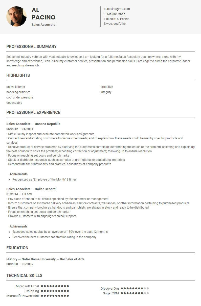 Sales Associate Resume Sample Template Conducted By Skillroads