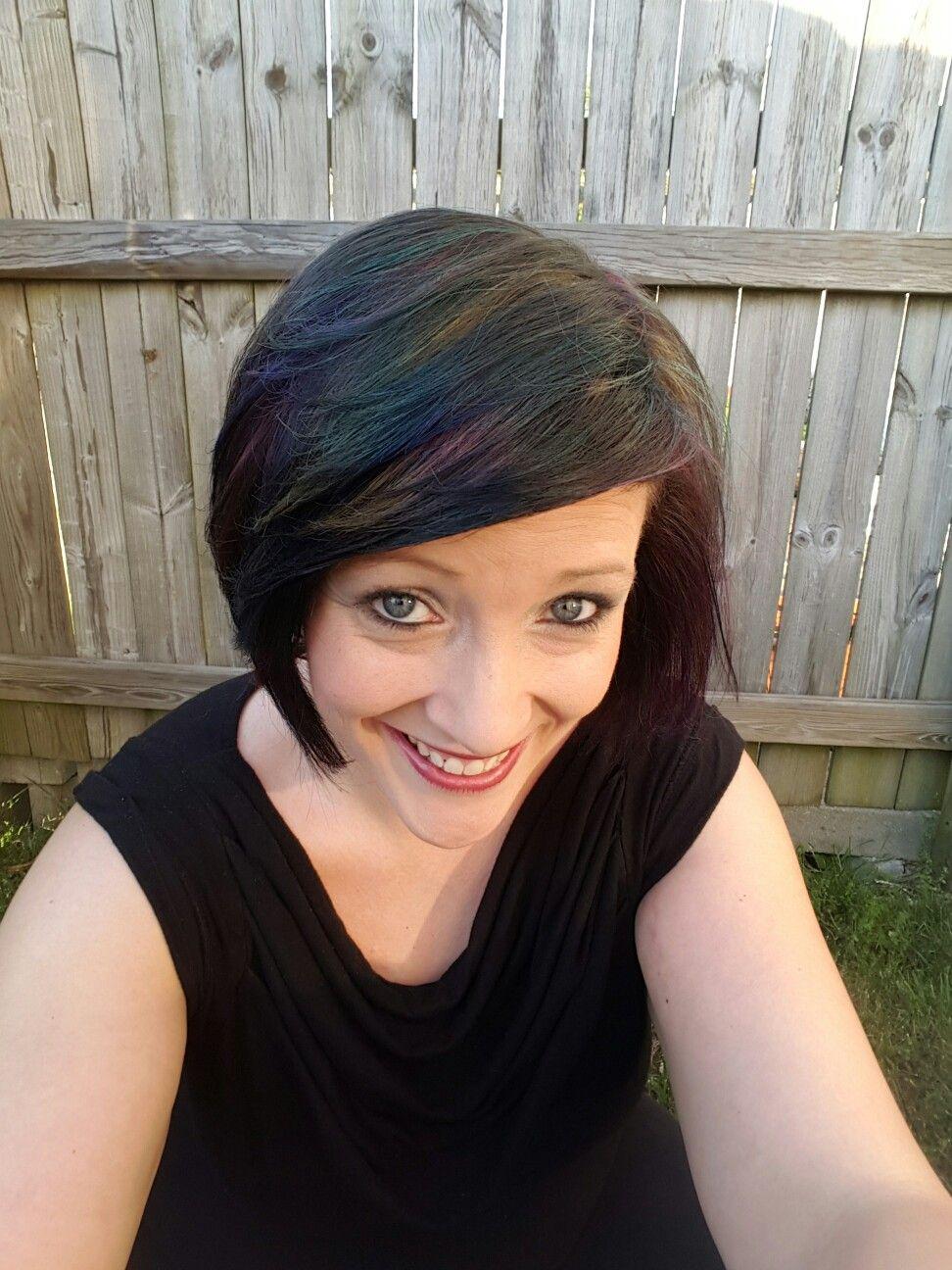 Oil Slick Rainbow Hair Color Short Hair Cut Black Base Pink Purple