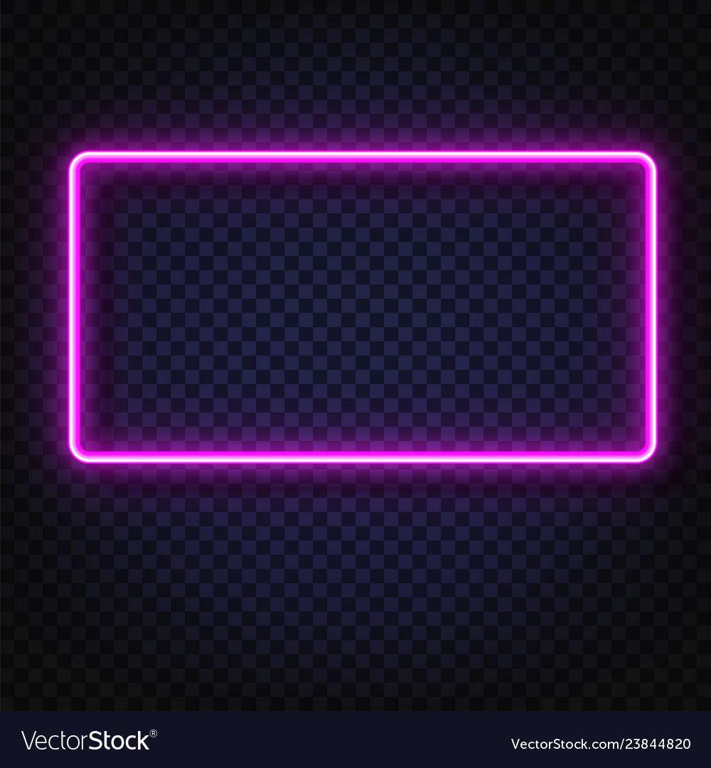 Neon light rectangular banner neon light vector image on
