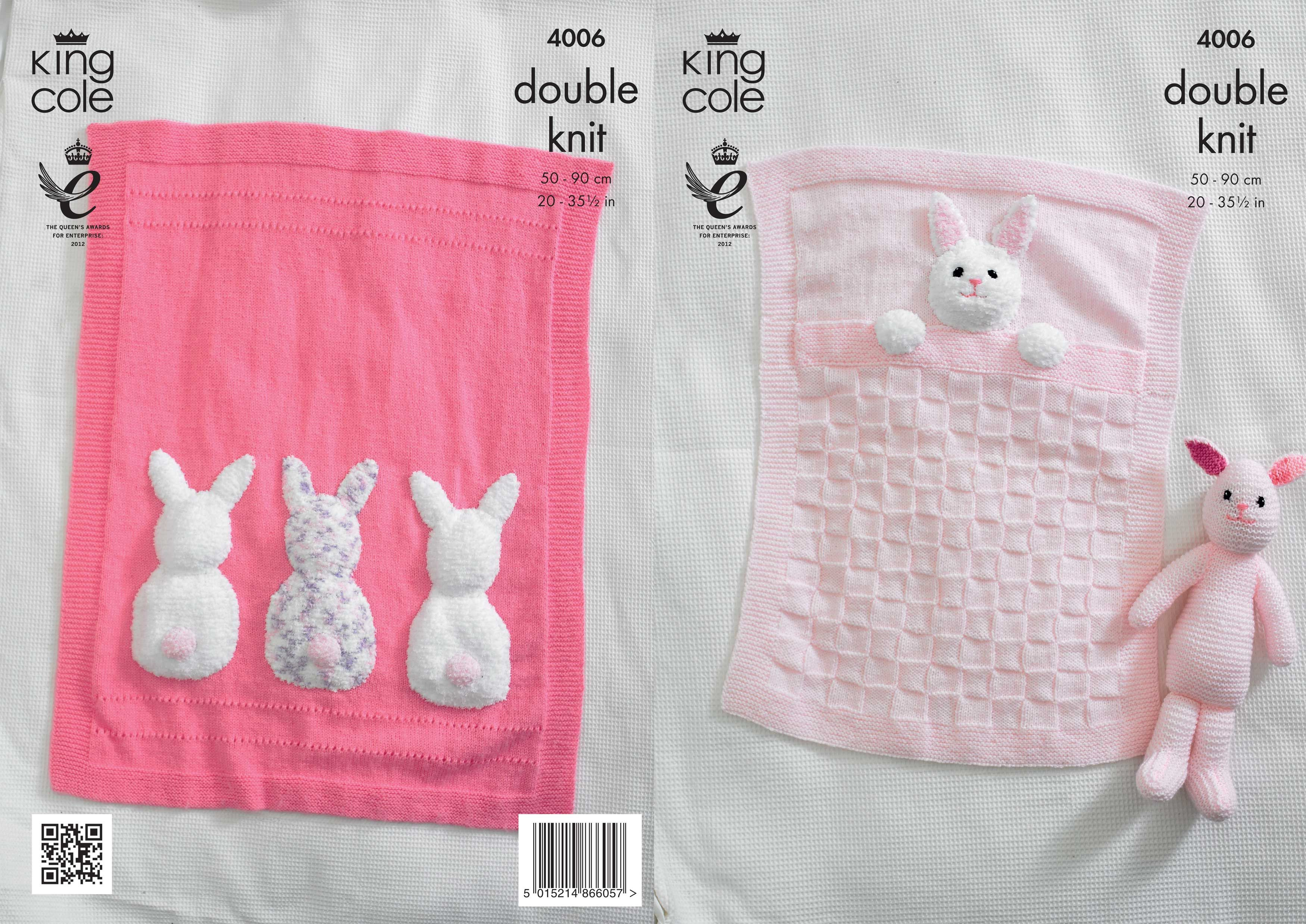 4006 | Knitting Patterns | Baby Blankets and Bunny Rabbit Toy | Knit ...