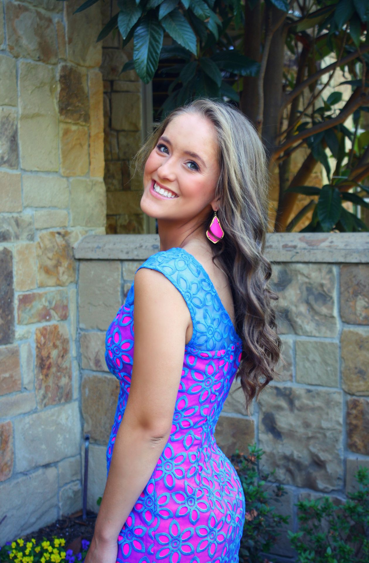 Love this blue and hot pink lace dress fashion pinterest