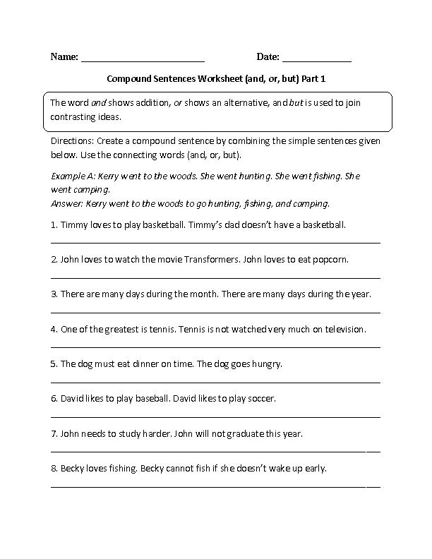 Printable Worksheets grade 3 sentence worksheets : and,or,but Compound Sentences Worksheet | 3rd Grade ELA ...