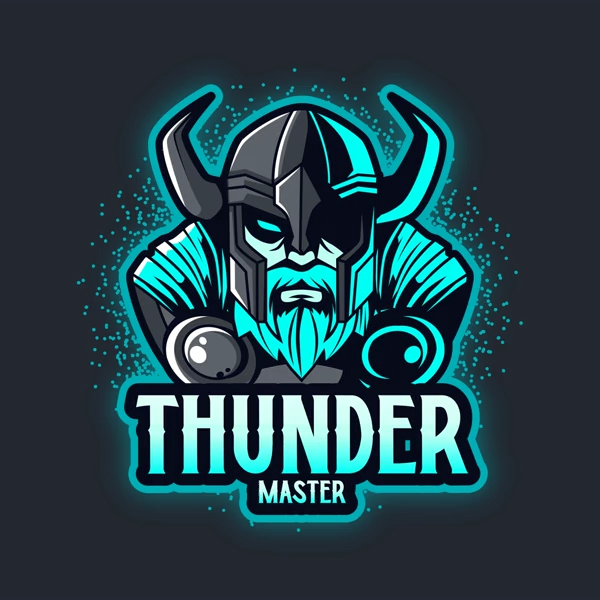 Gaming Logo Template Featuring a Thunder Nordic God Graphic
