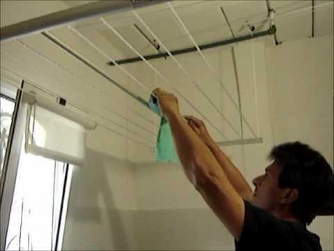 Funcionamiento tendedero de ropa sistema elevador colgante - Tendederos de balcon ...
