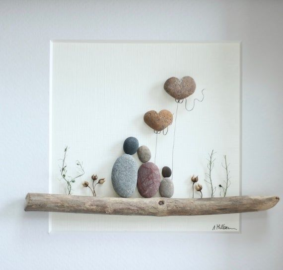 Photo of Kiesel Kunst Bild, Pebble Kunst Familie 3, Familie Geschenk, Pebble Art Baby, Muttertagsgeschenk, fathers Day Geschenk, Pebble Hochzeit, Kunstwerk