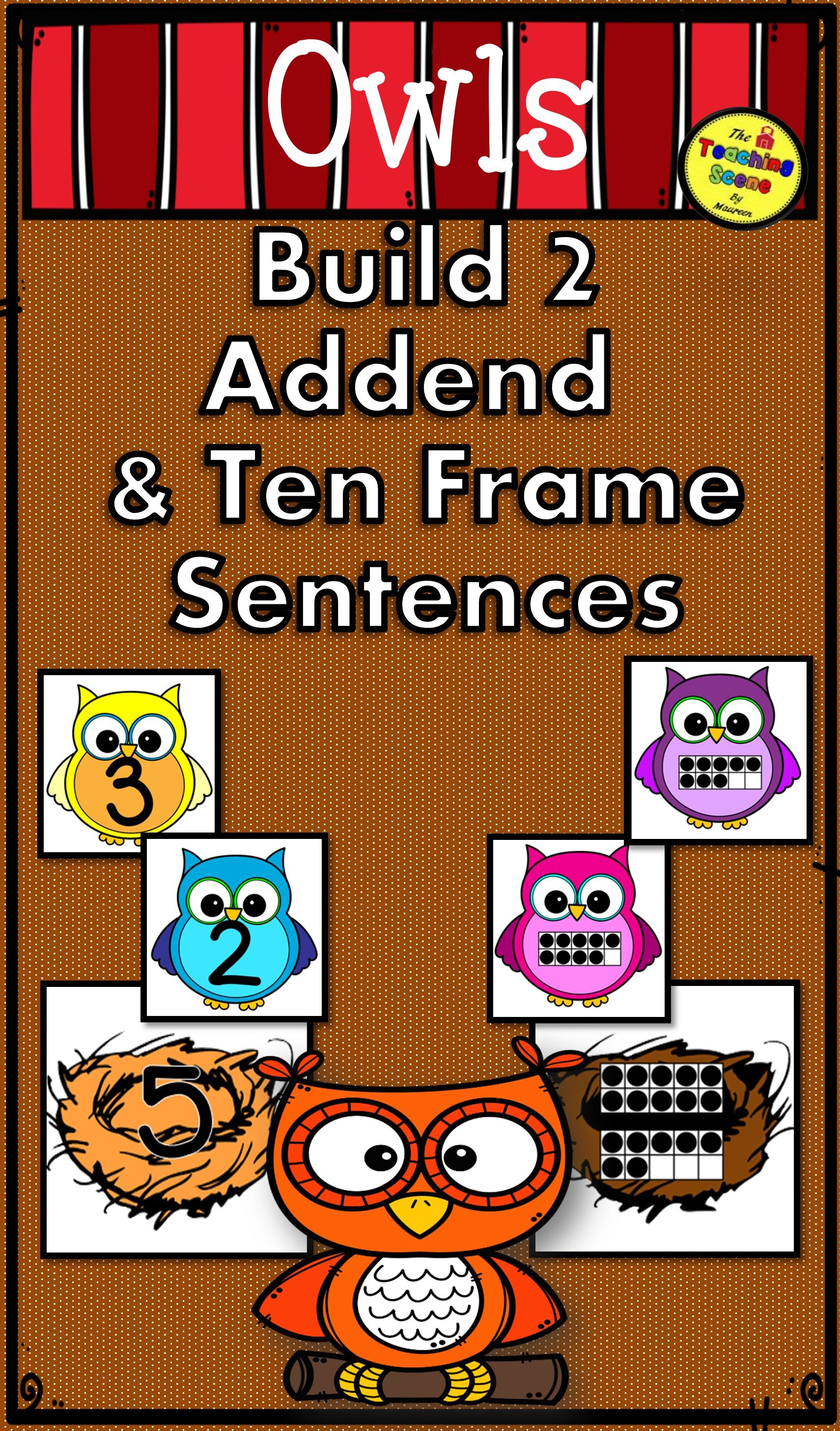 Owls 2 Addend Addition Amp Subtraction With Ten Frames With