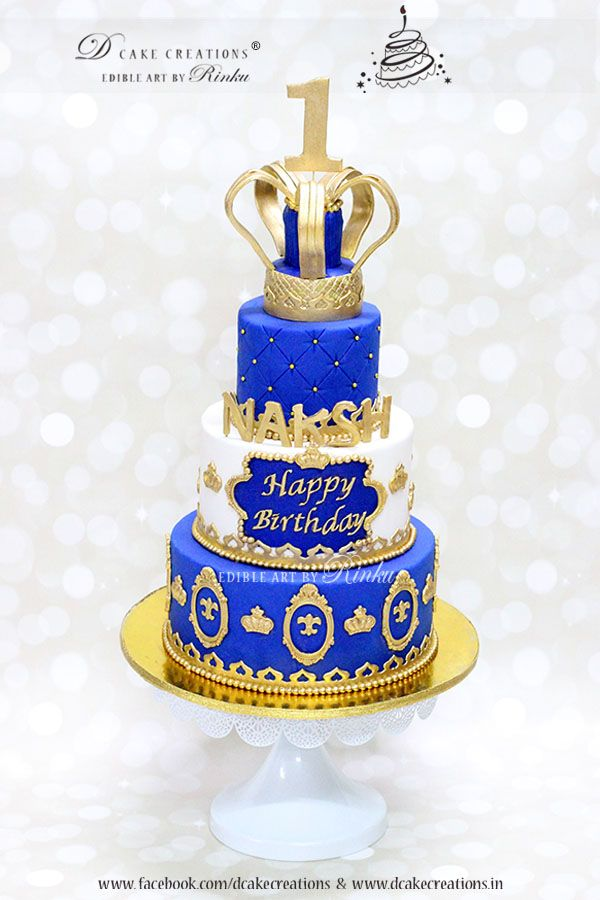 Royal Blue Prince Theme First Birthday Cake Royal Birthday Party