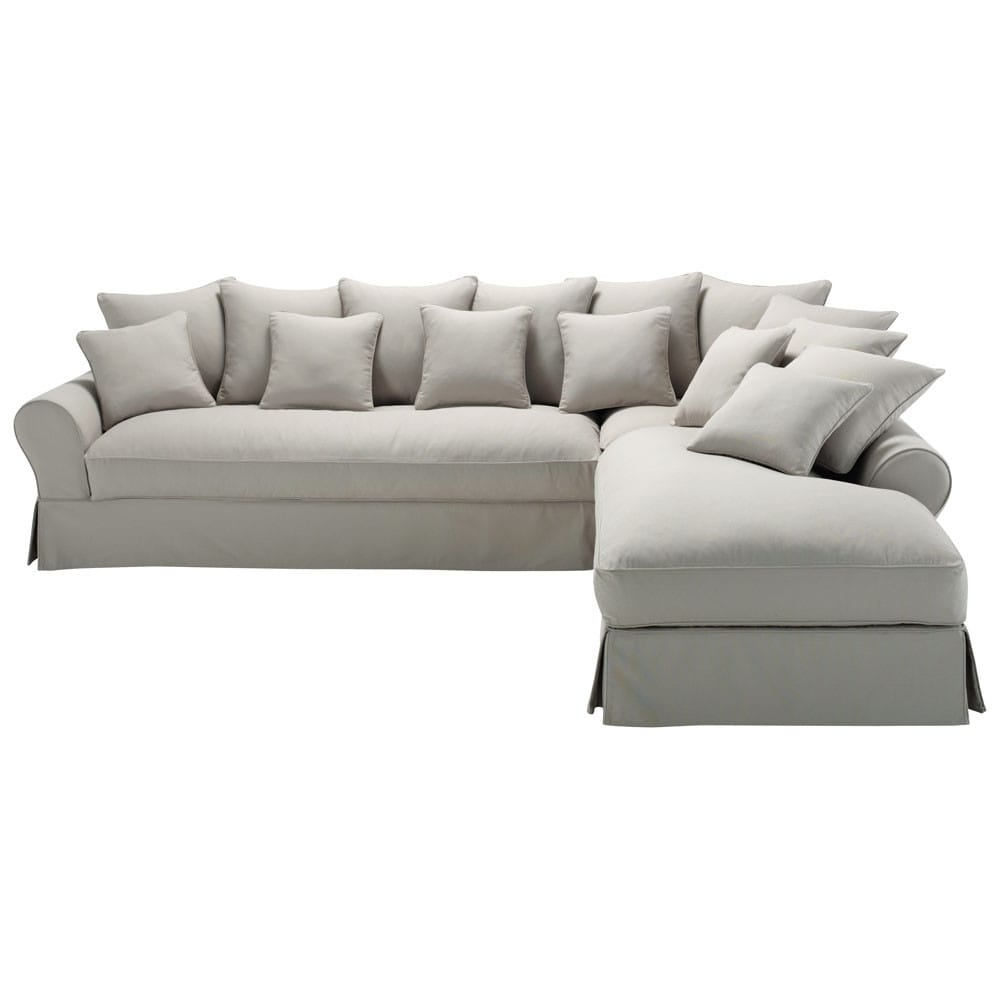 6-seater Charcoal Grey Cotton Left Hand Corner Sofa