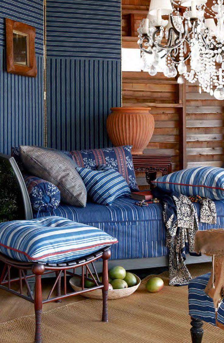 830d16a68701 Ralph Lauren Home Indigo Isle fabric collection features ikats ...