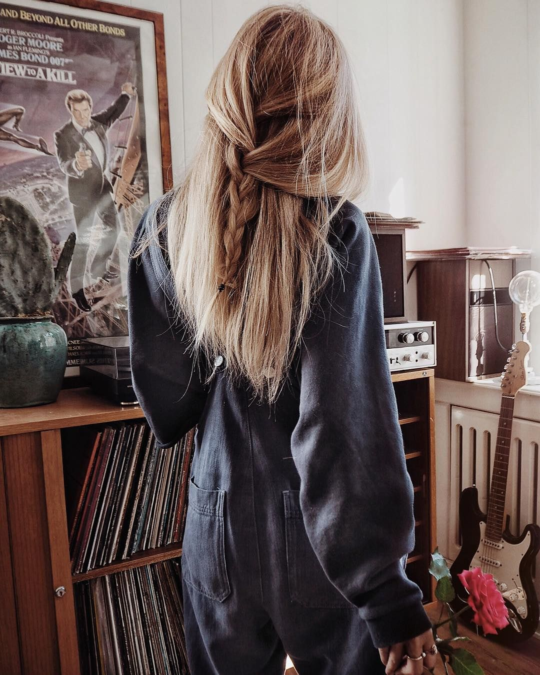 long blonde hair | half up | braided | vintage | lazy ...