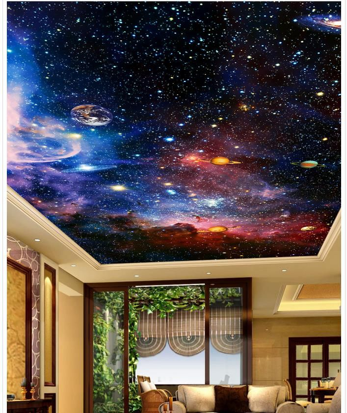 Pas cher 3d papier peint mural Étoiles 3d papier peint moderne pour