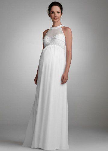 David's Bridal Wedding Dress: Chiffon Maternity Gown with Beaded Neckline Style 230M15880, White, M David's Bridal,http://www.amazon.com/dp/B005KQ3K42/ref=cm_sw_r_pi_dp_XBfPqb1VHPHCHD0Q