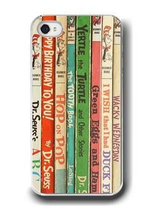 How great is this Dr. Seuss vintage book cover mobile phone case? Looks like our kids' bookshelves!