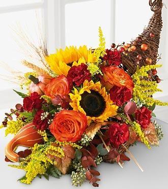 Sunflower Horn Of Plenty Thanksgiving Flower Arrangements Fall Flower Arrangements Thanksgiving Flowers