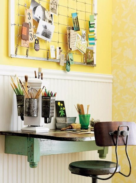 Home Office Decor Ideas To Extension Spring Design Your Workspace With Yellow Walls Office Decor To Bring Spring To Y Vintage Home Offices Home Diy Old Cribs