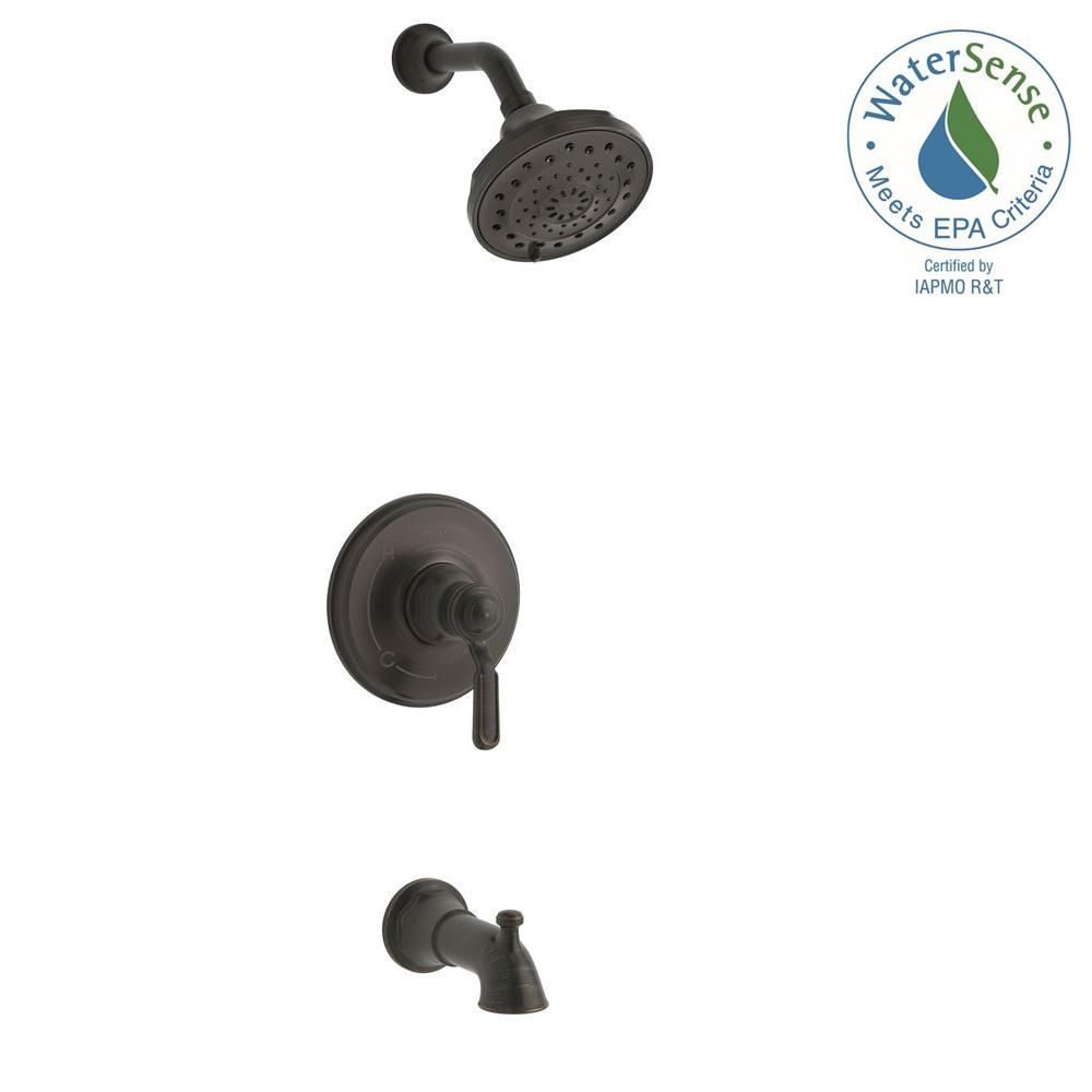bathroom faucet knobs. KOHLER Worth 1-Handle 3-Spray Tub And Shower Faucet In Oil Rubbed Bronze Bathroom Knobs