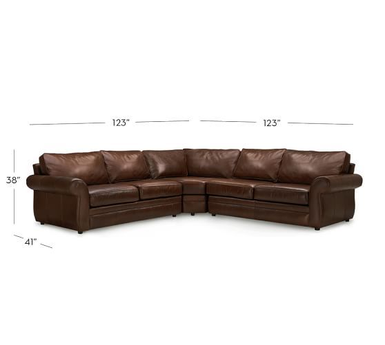Pleasing Pearce Roll Arm Leather 3 Piece L Shape Sectional With Wedge Machost Co Dining Chair Design Ideas Machostcouk