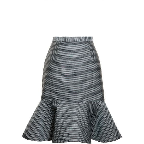 Opening Ceremony Calcite Circle Skirt (500 BRL) ❤ liked on Polyvore featuring skirts, pool blue, high-waisted flared skirts, blue skater skirt, high rise skirts, high waisted knee length skirt and high-waist skirt