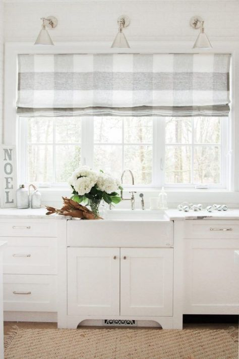 Soft Buffalo Check Roman Shades And Farmhouse Sink   LOVE!!
