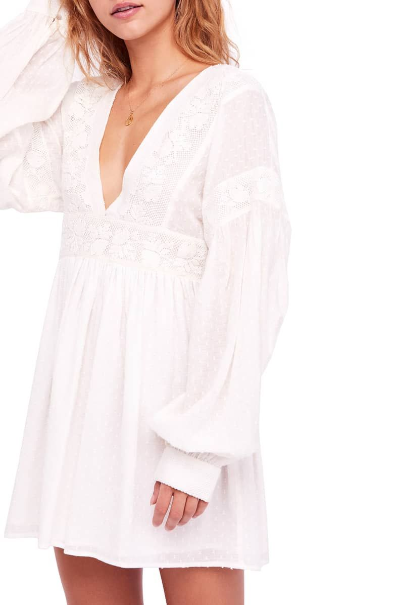 a31a2878372c Sugarpie Minidress, Boast sultry, boho-chic vibes in this irresistible mini  styled with low-dipping necklines, drapey back ties and lovely lace trim.