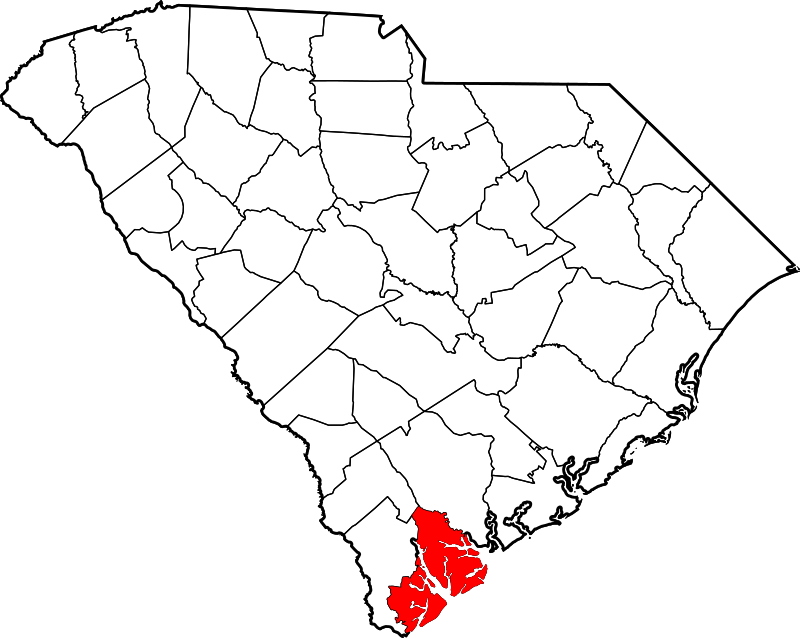 Map of South Carolina highlighting Beaufort County List