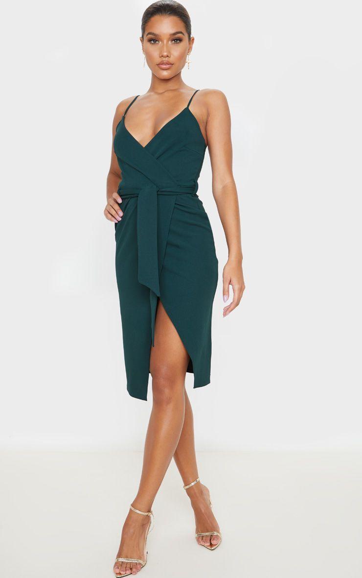 Emerald Green Strappy Wrap Tie Waist Midi Dress Strappy Midi Dress Midi Dress Khaki Midi Dress [ 1180 x 740 Pixel ]
