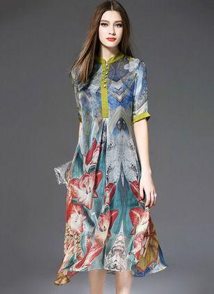 Silke Blomster Halvt ærme Midi Vintage Kjoler (1011600) @ floryday.com