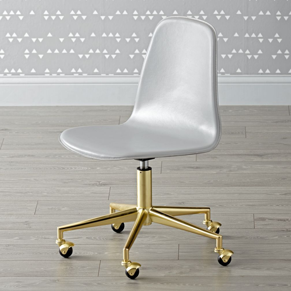 Shop Class Act Light Grey Gold Desk Chair This Leather Kids Desk Chair Has Handy Rolling Wheels And A Padd Modern Desk Chair Cute Desk Chair Gold Desk Chair