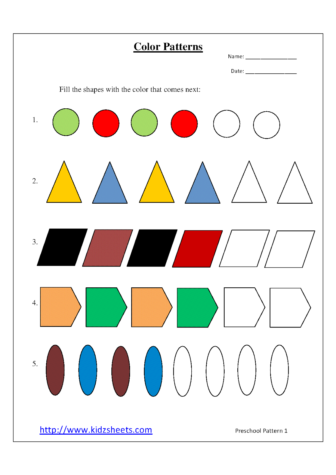 Kidz Worksheets Preschool Color Patterns Worksheet1 In