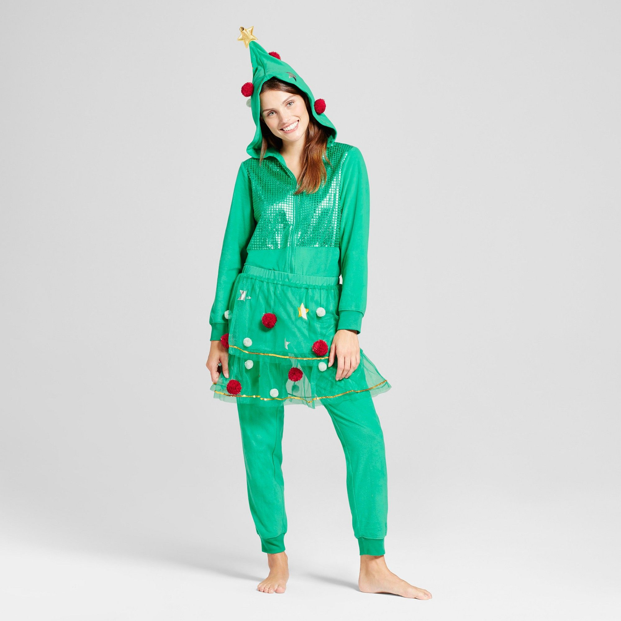 Women's Holiday Tree Union Suit Green Xxl Products