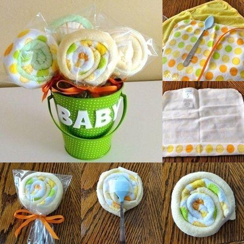 Babyparty Geschenke Deko Baby Waschlappen Lolipops Selber Machen ... Diy Baby Deko