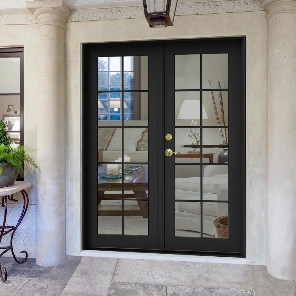 Jeld Wen 60 In X 80 In W 2500 Bronze Clad Wood Right Hand 10 Lite French Patio Door W White Paint French Doors Patio French Doors Exterior Wood French Doors