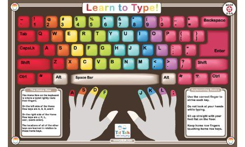Amazon Com Learn To Type Activity Placemat Toys Games Learn To Type Learning Spanish Typing Skills