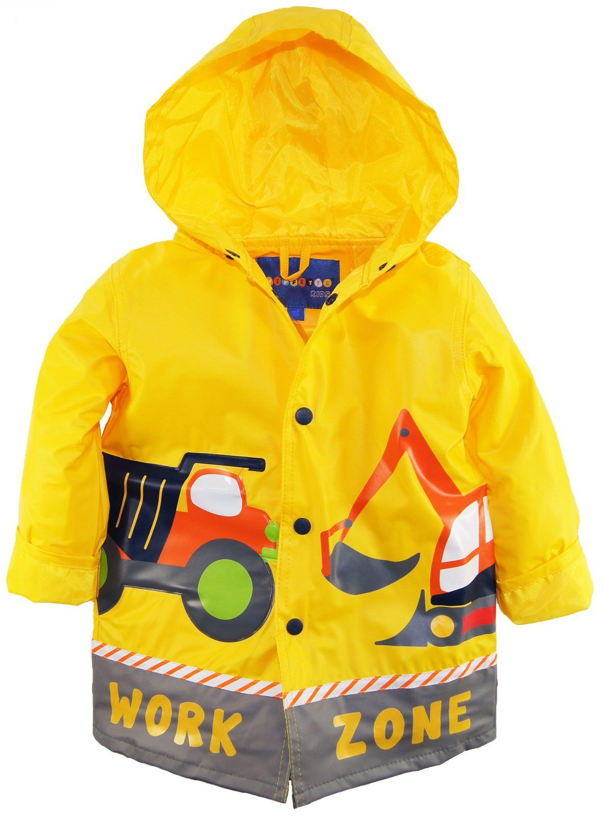 Amazon.com: Wippette Little Boys' Toddler Waterproof Hooded Construction Raincoat Jacket, Gold, 4T: Clothing