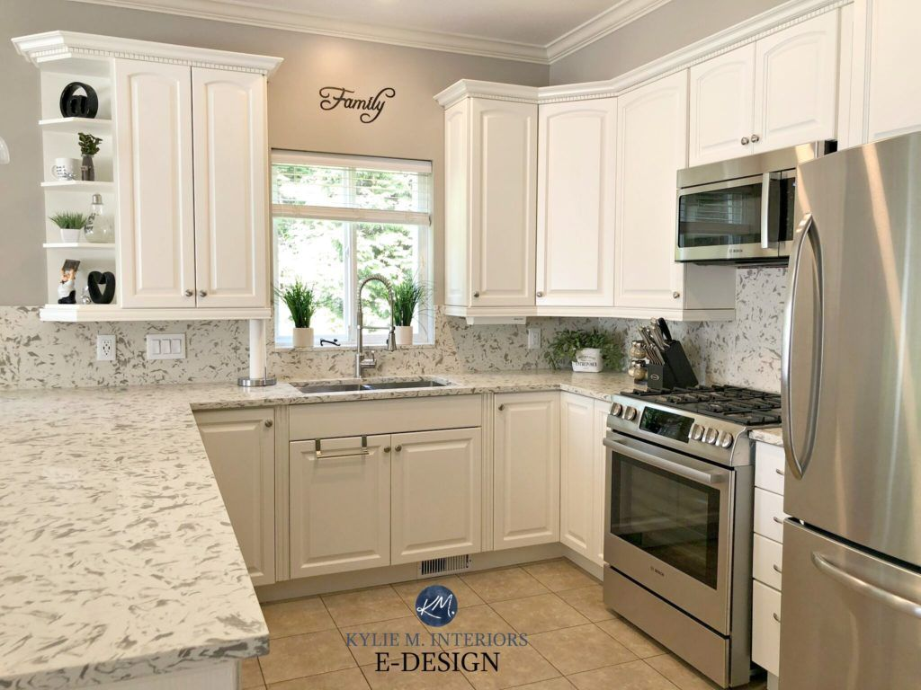E Design An Oak Cabinet Makeover With White Dove Oak Kitchen Cabinets Oak Cabinets Kitchen Cabinets