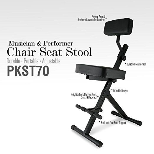 Amazon.com: Pyle PKST70 Durable Portable Adjustable Musician And Performer  Chair Seat Stool: