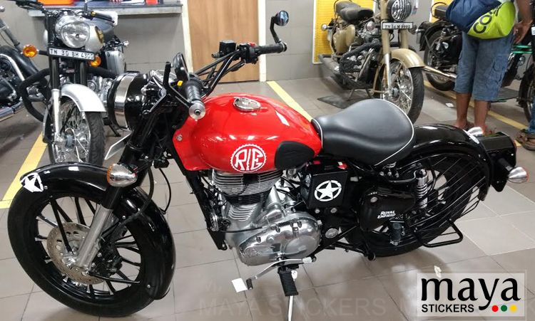 Sticker Alterations On Royal Enfield Classic Redditch Red
