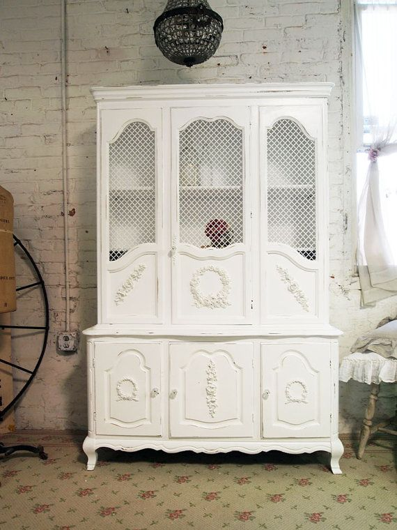 Painted Cottage Chic Shabby White China Cabinet by paintedcottages, $525.00