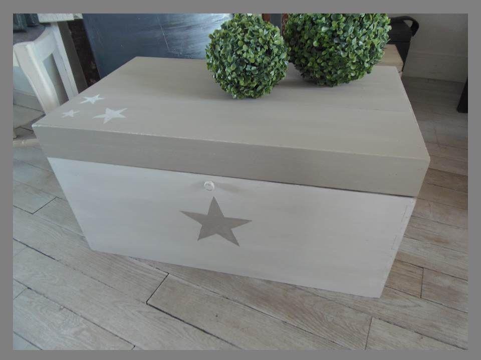 meuble coffre malle patin perle blanc poudr et ficelle. Black Bedroom Furniture Sets. Home Design Ideas