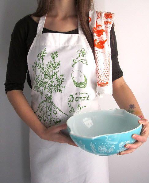 screen printed apron - natural cotton twill - botanical potato plant ...