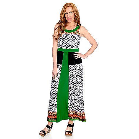722-727 - One World Printed Knit Sleeveless Scoop Neck Maxi Dress