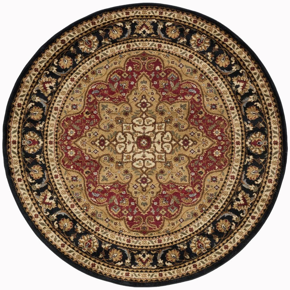 Tayse Rugs Elegance Red 5 Ft X 5 Ft Round Traditional Area Rug