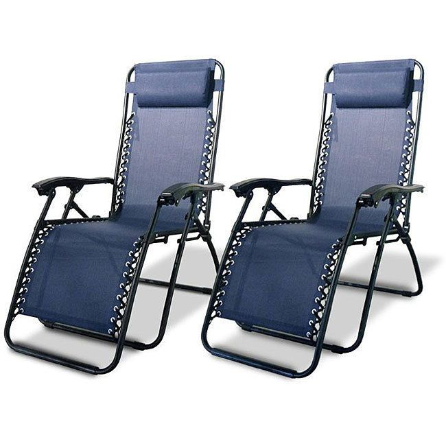 Zero Gravity Patio Porch Chairs Caravan Canopy Blue Pack Of Two Outdoor  Beach